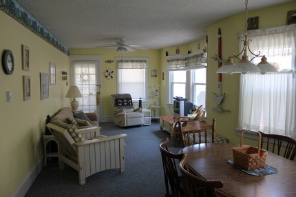 View of dining room and living room of Ocean City condo
